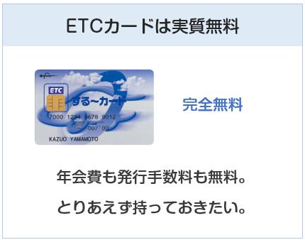 ANA JCB 一般カードのETCカードは無料