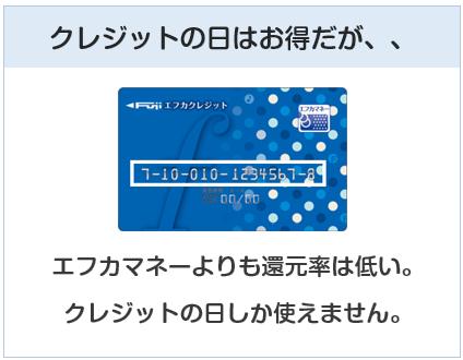 エフカクレジットカードはクレジットの日はお得だが・・・