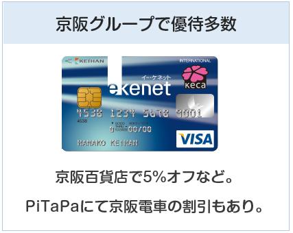 京阪カード(e-kenet VISAカードPiTaPa)は京阪グループで優待多数