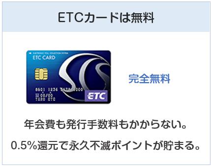 クラブ・オン/ミレニアムカード セゾンのETCカードは無料