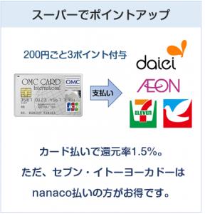 OMCカードはスーパーでポイントアップ