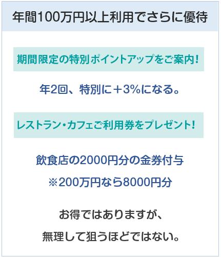 小田急(OP)クレジットカードは小田急百貨店で年間100万円使うと優待がある