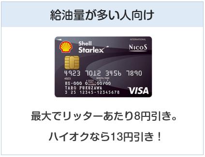 シェルスターレックスカードは給油量が多い人向け