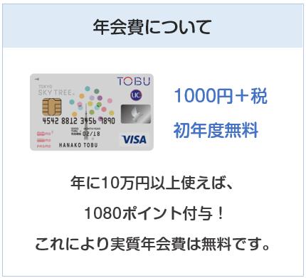 東京スカイツリー東武カードPASMOの年会費について