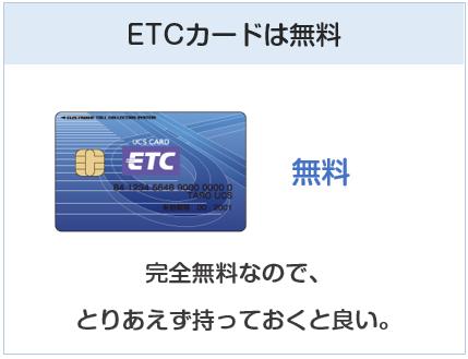UCSカードはETCカードも無料