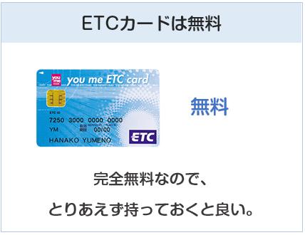 ゆめカードのETCカードは無料