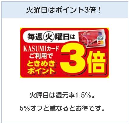 カスミカードはKASUMIで火曜日はポイント3倍