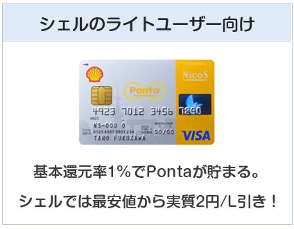 シェルPontaクレジットカードはシェルのライトユーザー向けのクレジットカード