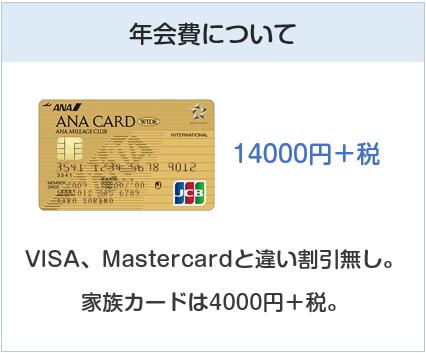 ANA JCBワイドゴールドカードの年会費について