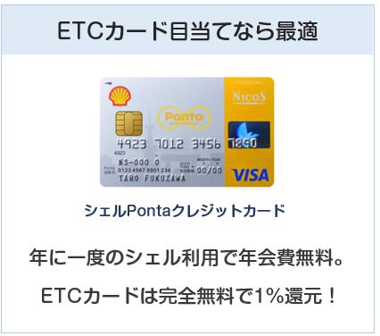 シェルPontaクレジットカードはETCカード目当てとしては最適