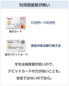楽天デビットカードは利用限度額が無い