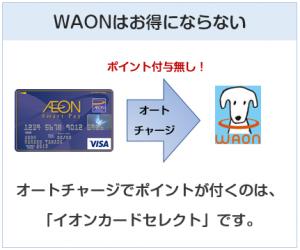 イオンスマートペイカードはWAONチャージでポイント付与無し