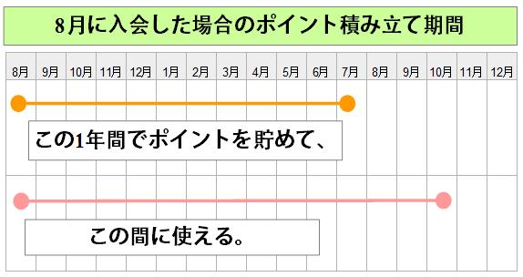 タカシマヤポイント積み立て期間説明図