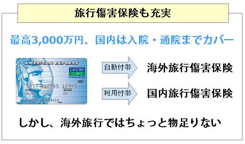 セゾンブルー・アメリカン・エキスプレス・カードは旅行傷害保険も充実