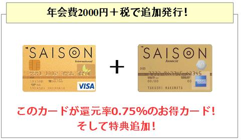 ゴールドカードセゾンはアメックスを追加発行でき、これは0.75%還元とお得なカード