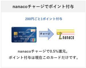 nanacoチャージでポイントが付与されるクレカはセブンカードプラスのみに