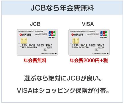 楽天デビットカード(JCB)はJCBなら年会費無料。VISAは有料なのです。