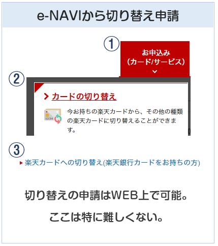 楽天銀行カードの楽天カードへの切り替えはe-NAVIから可能