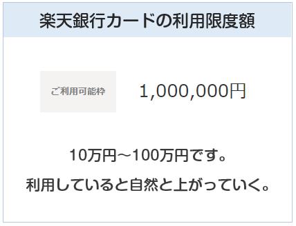 楽天銀行カードの利用限度額