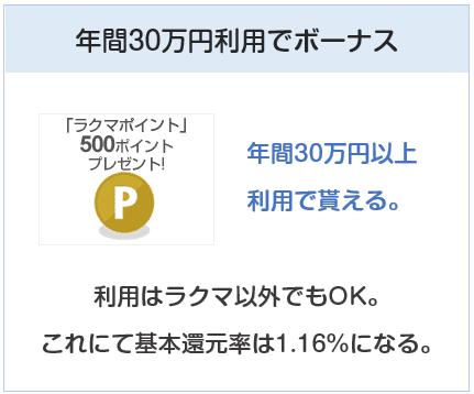 フリルカードは年間30万円利用でボーナス