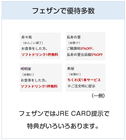 JRE CARDはフェザンでも優待店舗あり