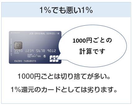 JCB CARD Wは1000円ごとのポイント付与計算