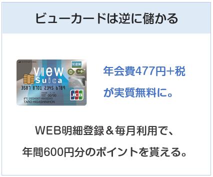 ビューカードはWEB明細登録&毎月利用で年会費は実質無料
