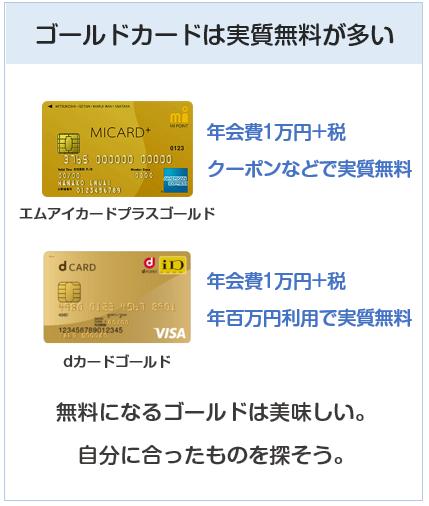 ゴールドカードは年会費が実質無料になるものが多い